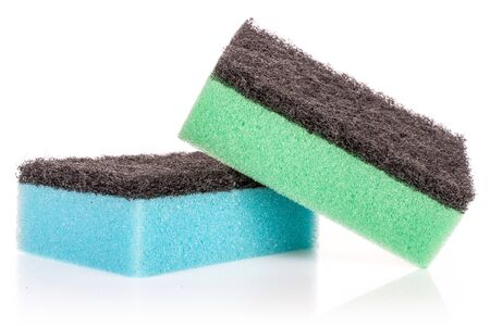 Group of two whole cleaning kitchen sponge blue green isolated on white background Banco de Imagens