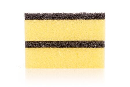 Group of two whole yellow cleaning kitchen sponge isolated on white background Banco de Imagens