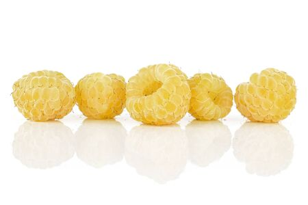 Group of five whole fresh golden hymalayan raspberry in line isolated on white background