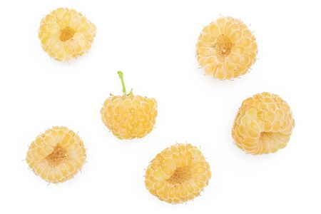 Group of six whole fresh golden hymalayan raspberry flatlay isolated on white background Stok Fotoğraf
