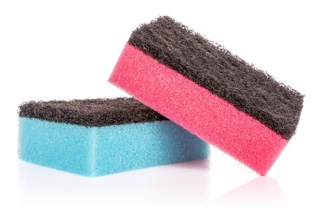 Group of two whole cleaning kitchen sponge blue pink isolated on white background