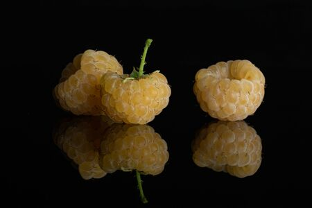 Group of three whole fresh golden hymalayan raspberry with a stem isolated on black glass