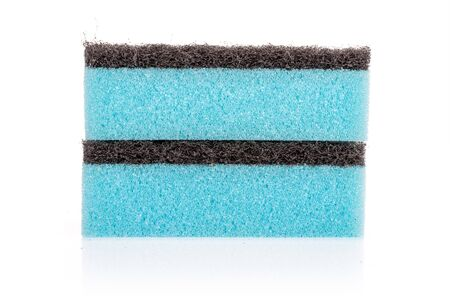 Group of two whole blue cleaning kitchen sponge isolated on white background