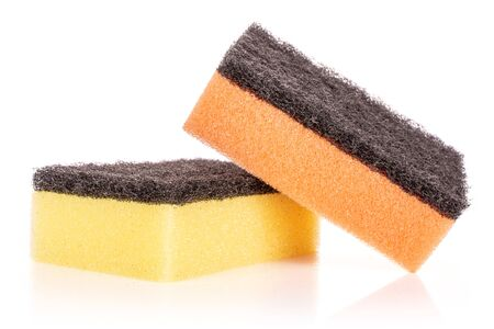 Group of two whole cleaning kitchen sponge yellow orange isolated on white background