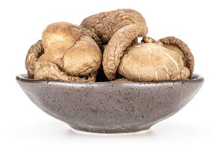 Lot of whole dry mushroom shiitake on grey ceramic plate isolated on white background Reklamní fotografie