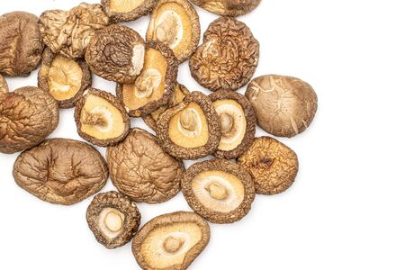 Lot of whole dry mushroom shiitake flatlay isolated on white background