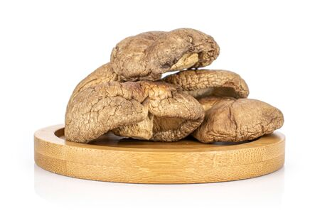 Group of four whole dry mushroom shiitake on bamboo plate isolated on white background