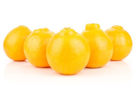 Group of five whole fresh orange tangelo minneola isolated on white background Banque d'images - 129474182