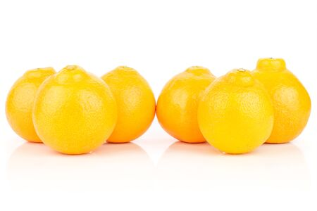 Group of six whole fresh orange tangelo minneola isolated on white background Banque d'images - 129475058