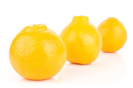 Group of three whole fresh orange tangelo minneola placed diagonally isolated on white background Banque d'images - 129474823