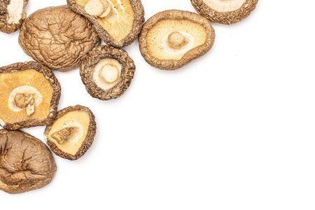 Lot of whole dry mushroom shiitake copyspace flatlay isolated on white background