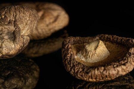 Group of two whole dry mushroom shiitake closeup isolated on black glass Reklamní fotografie