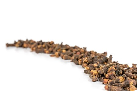 Lot of whole dry brown clove isolated on white background