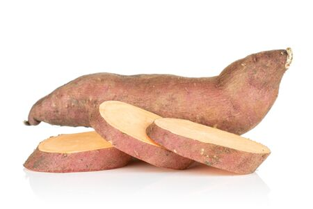 Group of one whole three slices of fresh brown sweet potato isolated on white background Banque d'images
