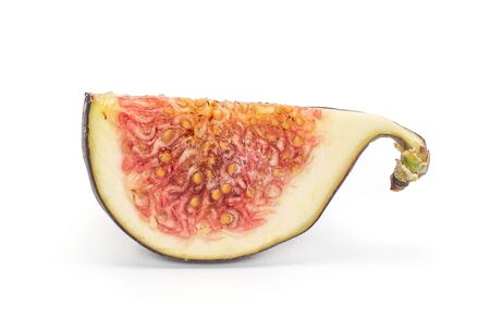 One slice of fresh fig fruit isolated on white background 写真素材