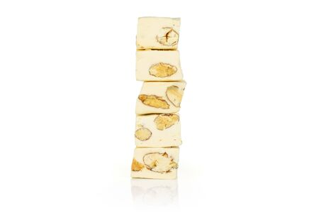 Group of five whole sweet white nougat isolated on white background 写真素材