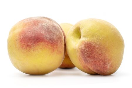 Group of three whole bright fresh fuzzy peach isolated on white background