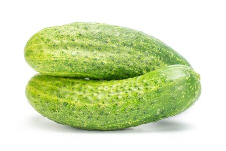 Group of two whole fresh green pickling cucumber with pimples isolated on white background 스톡 콘텐츠