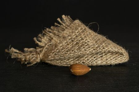 One whole front focus brown almond nut with jute fabric isolated on grey stone