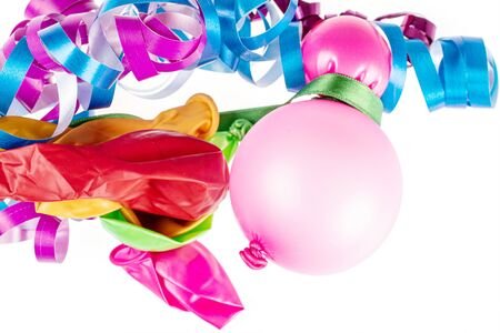 Lot of whole latex pastel ballon with pink ribbon and blue ribbon flatlay isolated on white background