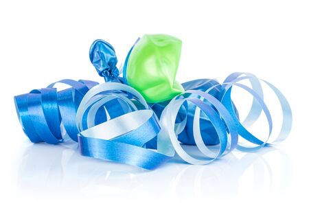 One whole deflated latex pastel ballon with blue ribbon isolated on white background