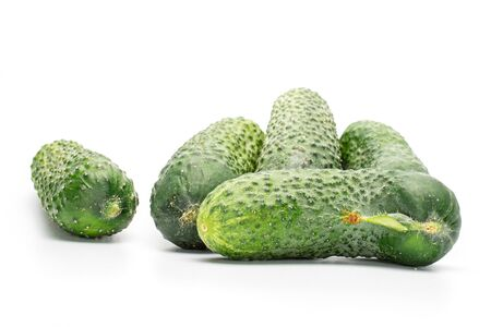 Group of five whole fresh pickling cucumber isolated on white background