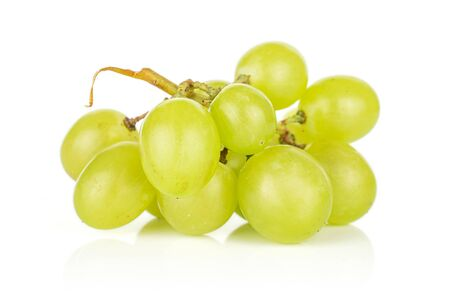 Lot of whole light fresh green grape isolated on white background