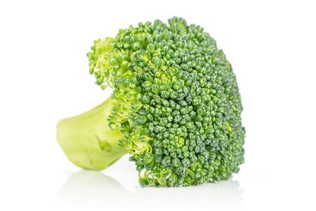 One whole fresh green broccoli front focus isolated on white background