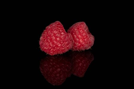 Group of two whole fresh red raspberry isolated on black glass