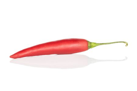 One whole hot red chili cayenne isolated on white background Stock Photo