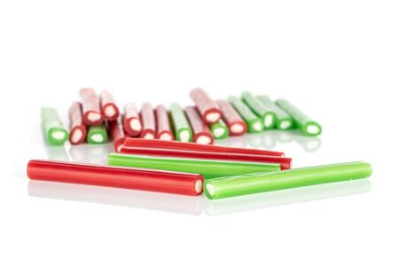 Lot of whole sweet stick candy front focus isolated on white background Banque d'images