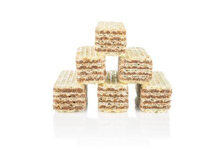 Group of six whole crispy beige hazelnut wafer cookie isolated on white background 写真素材 - 131947340