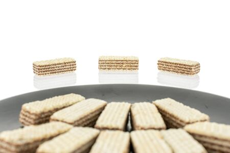 Lot of whole crispy beige hazelnut wafer cookie on gray ceramic plate isolated on white background 写真素材 - 131947908