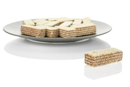Lot of whole crispy beige hazelnut wafer cookie on gray ceramic plate isolated on white background 写真素材