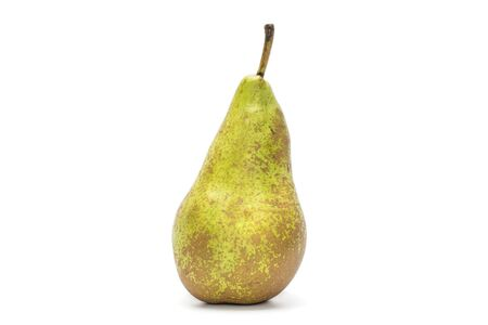 One whole fresh green pear conference isolated on white background