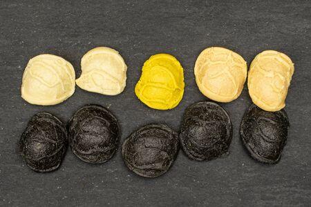 Group of ten whole colorful pasta orecchiette flatlay on grey stone