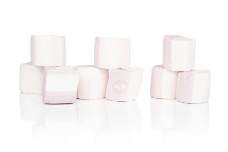 Group of nine whole sweet pastel marshmallow isolated on white background