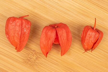 Group of three whole fresh orange physalis flatlay on light wood Zdjęcie Seryjne