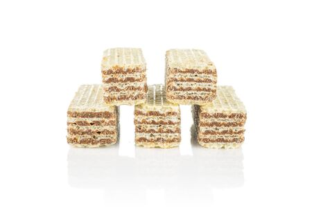 Group of five whole crispy beige hazelnut wafer cookie isolated on white background 写真素材 - 131950436