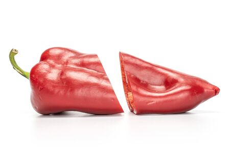 Group of two halves of sweet red bell pepper isolated on white background Zdjęcie Seryjne