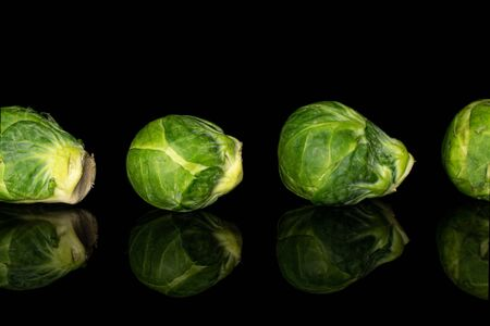Group of four whole fresh green brussels sprout isolated on black glass