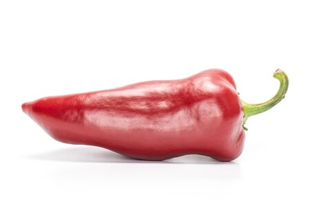 One whole sweet red bell pepper isolated on white background