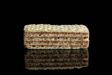 One whole crispy beige hazelnut wafer cookie isolated on black glass