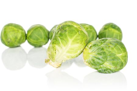 Group of seven whole fresh green brussels sprout isolated on white background 版權商用圖片