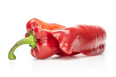 Group of one whole one half of sweet red bell pepper isolated on white background Zdjęcie Seryjne