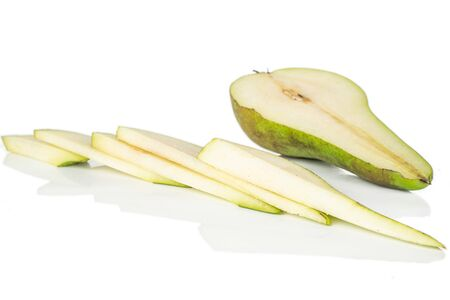Group of one half five slices of fresh green pear isolated on white background