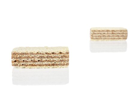 Group of two whole crispy beige hazelnut wafer cookie isolated on white background