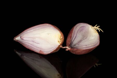Group of two halves of fresh brown shallot isolated on black glass