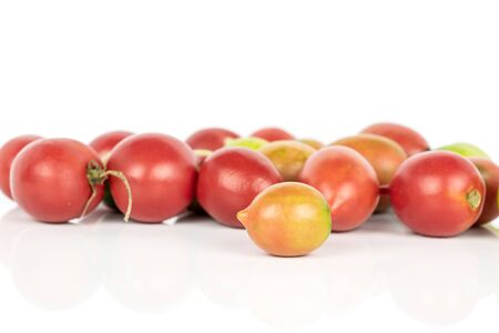 Lot of whole fresh tomato de barao isolated on white background Banco de Imagens