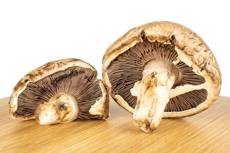 Group of two whole fresh brown mushroom champignon on bamboo cutting board isolated on white background